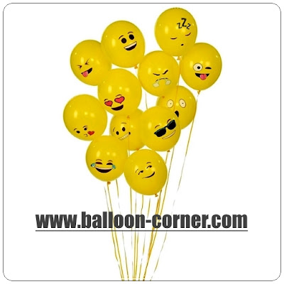 Balon Latex Printing Emoji / Emoticon