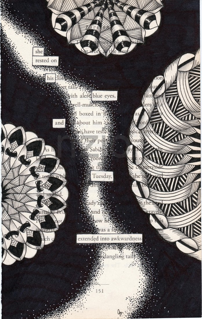13-Tuesday-Jo-Newsham-Zentangle-Drawings-on-Recycled-Vintage-Book-Pages-www-designstack-co