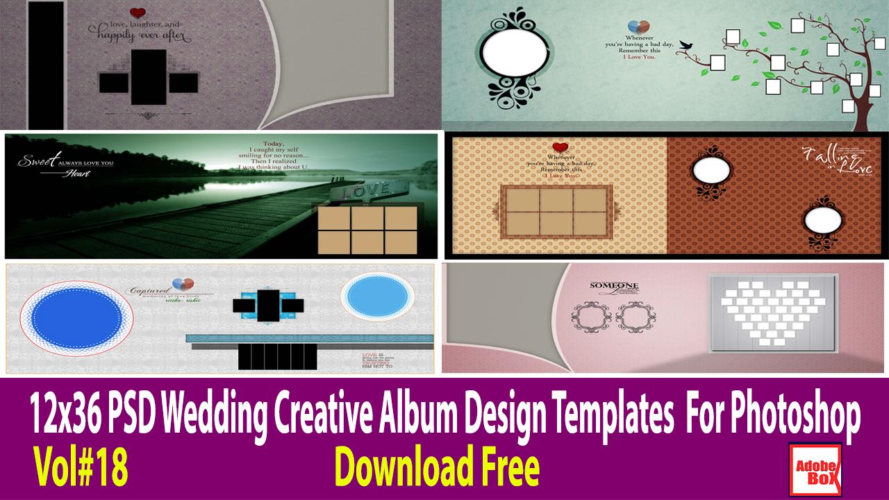 12x36 Psd Wedding Creative Album Design Templates For Photoshop Vol