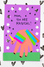 Magical Mother's Day Unicorn Handprint Card for kids to make for mom