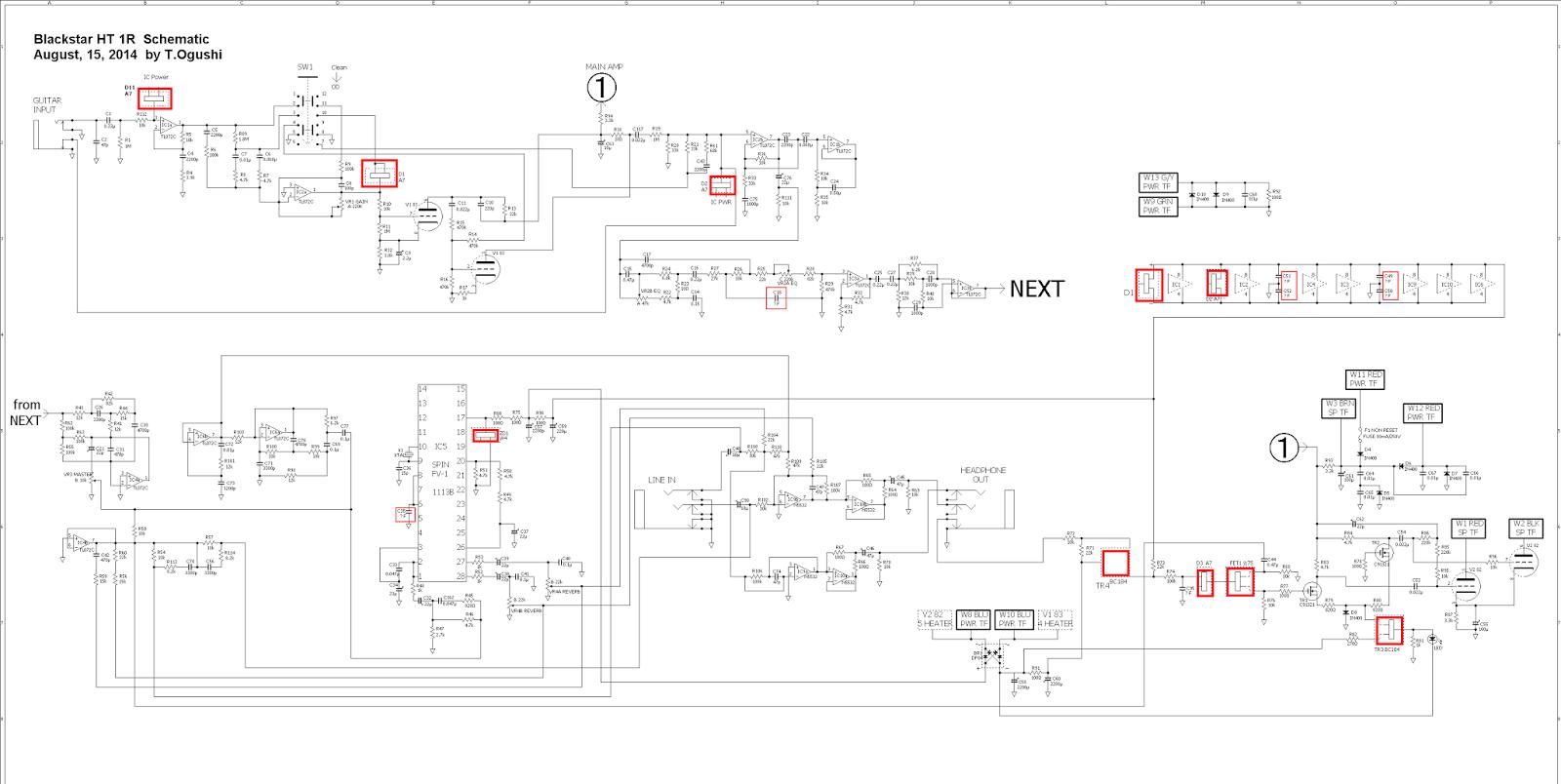 Hardrocker Blackstar Ht 1r Schematic For Repair
