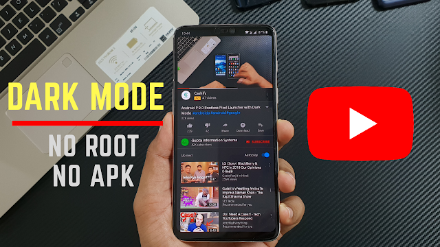 enable dark mode youtube android