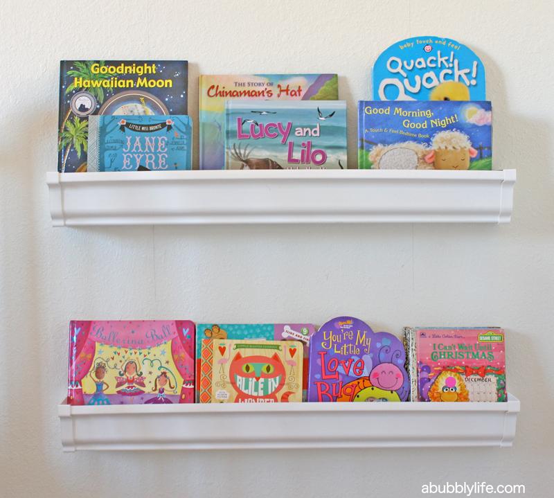Bookshelves Made From Gutters: A Bubbly LifeKalia's Nursery Update- Rain Gutter Book