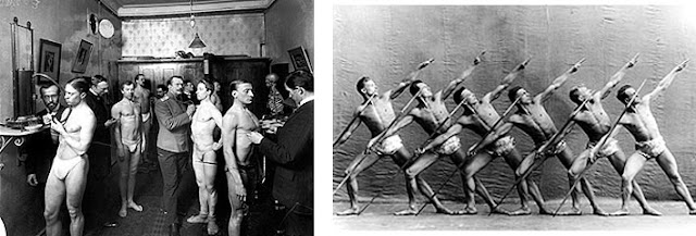 Left: Medical inspection (or medical study), 1900s. Right: Group with poles, 1900s
