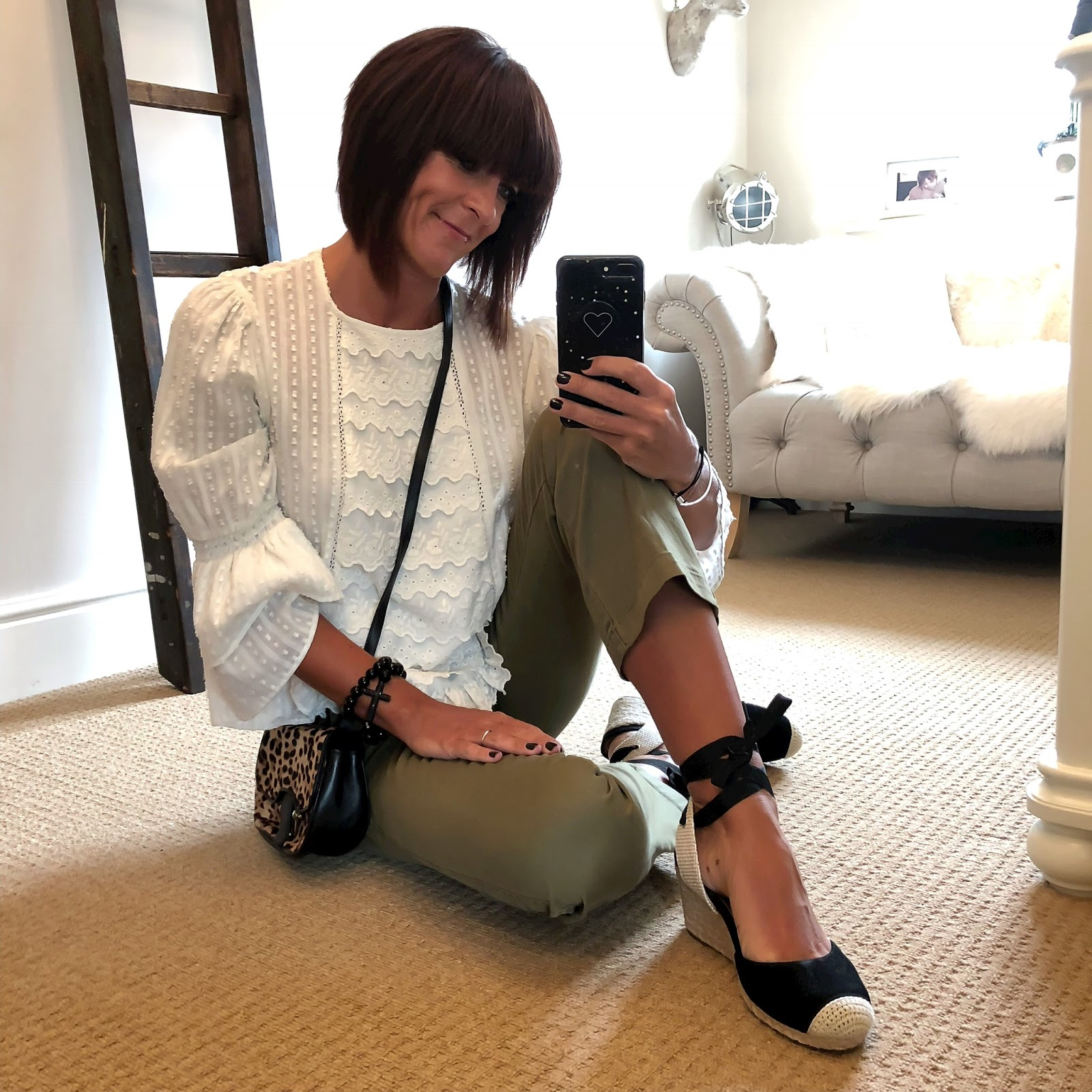 my midlife fashion, zara ruffle embroidered top, j crew leopard print across body bag, j crew sammie cropped kick flare chinos, vionic shoes wedge espadrilles