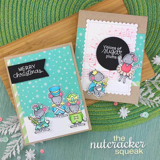 Nutcracker Mice cards by Jennifer Jackson | The Nutcracker Squeak Stamp and Die Set, Music and Petite Snow Stencils by Newton's Nook Designs