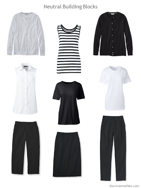 9 wardrobe Neutral Building Blocks in black and white for spring and summer