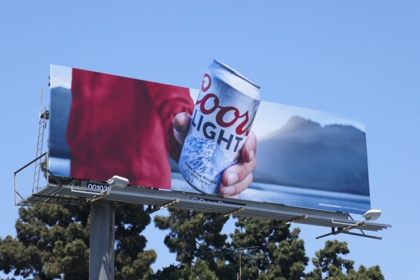 Coors Light cut-out beer can billboard