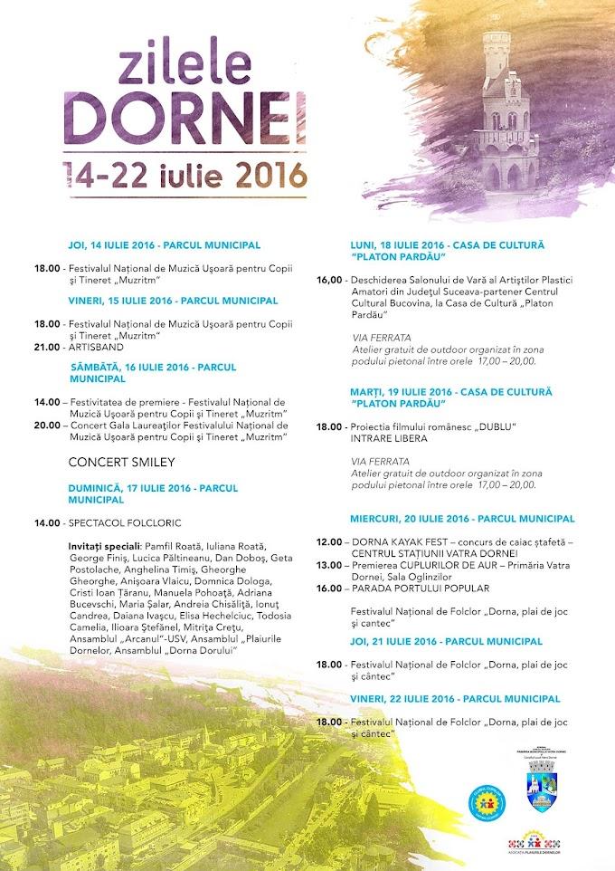 Zilele Dornei 2016 vor avea loc în perioada 14 - 22 Iulie ... Vezi programul manifestărilor !