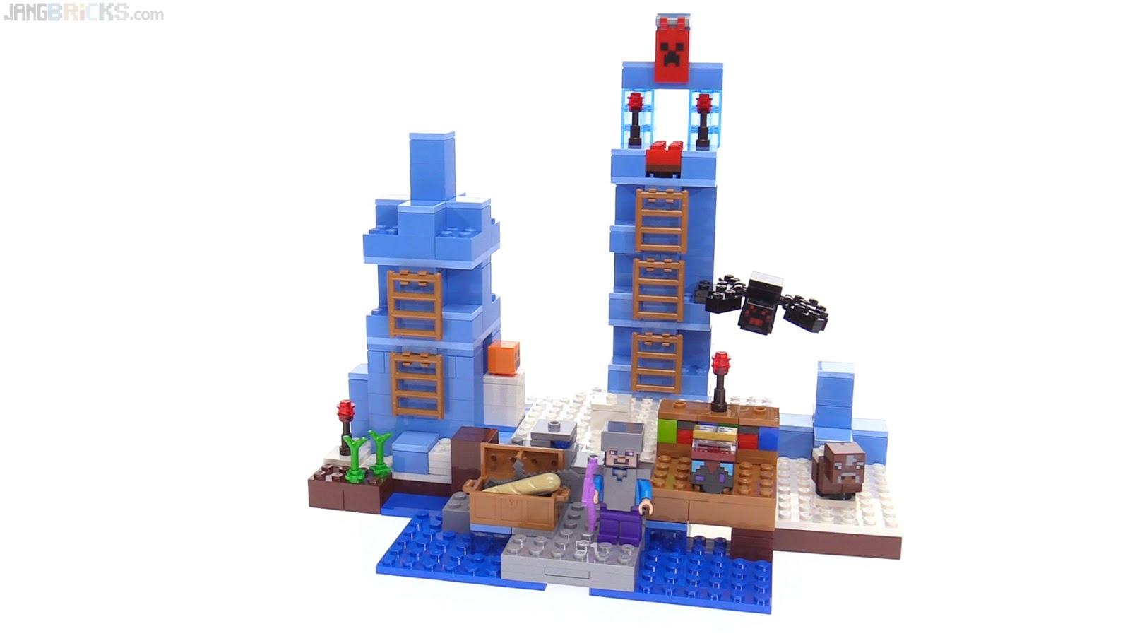Jangbricks Lego Reviews Mocs February 2017 21134 Minecraft The Waterfall Base Ice Spikes Review 21131