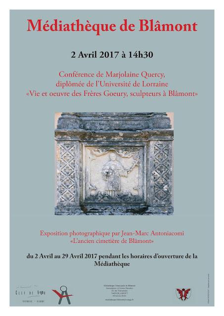 """BLAMONT (54) - Conférence """"Vie et oeuvre des Frères Goeury, sculpteurs à Blâmont"""" (2 avril 2017)"""