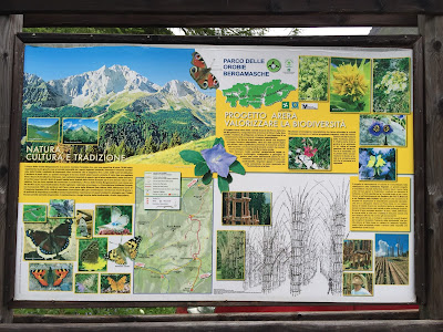 Information at the trail head, including information on the Sentiero dei Fiori, information on the Sentiero dei Roccol, and the biodiversity of the mountains.