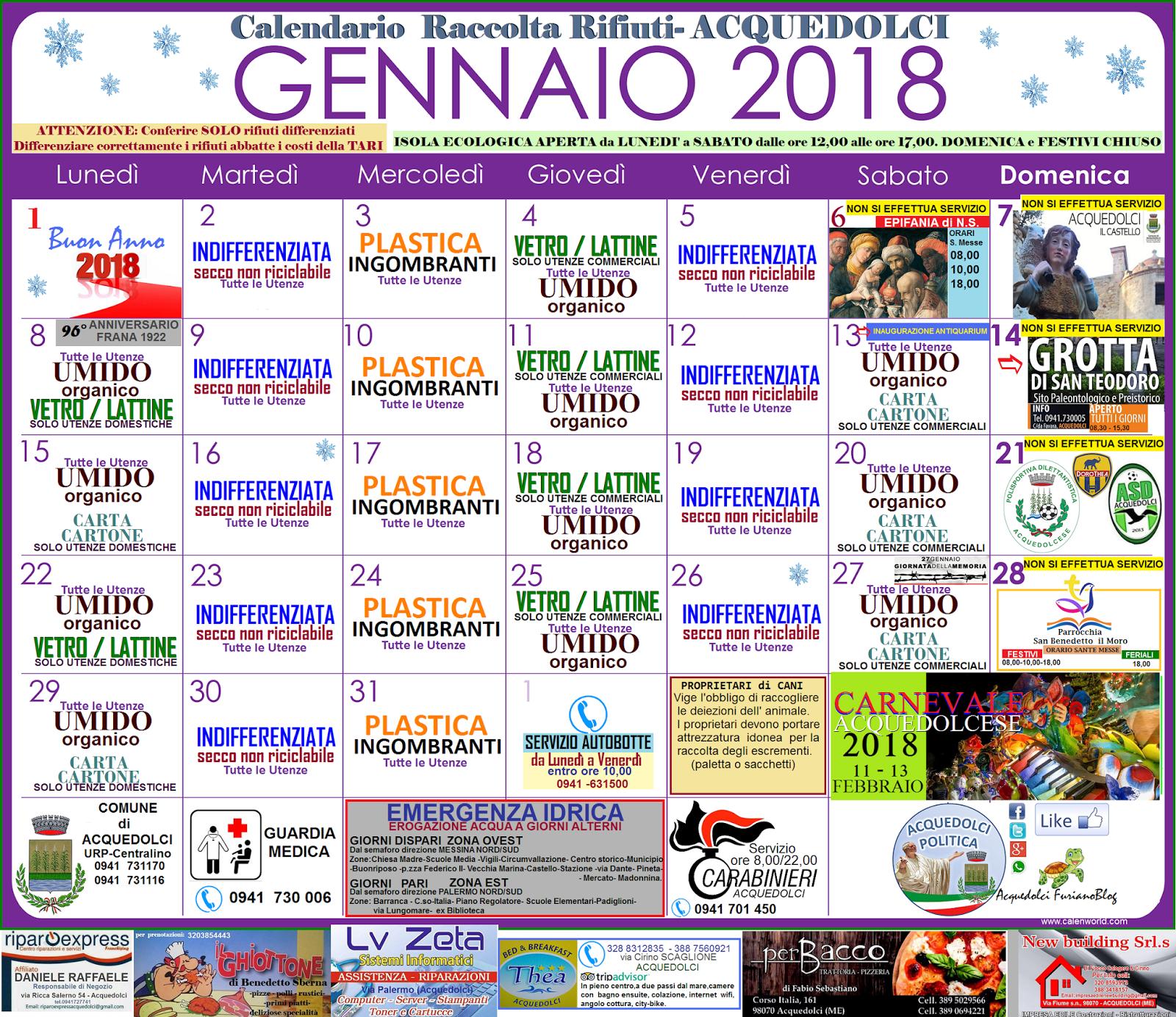Calendario Raccolta Differenziata Sanremo.Rifiuti Ecco Il Calendario Di Gennaio 2018