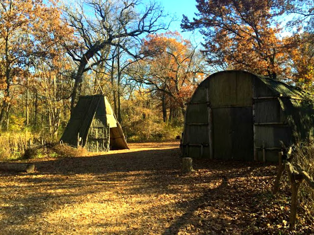 Teepee and longhouse representing the Native Americans that once lived in the area of The Grove in Glenview, IL.