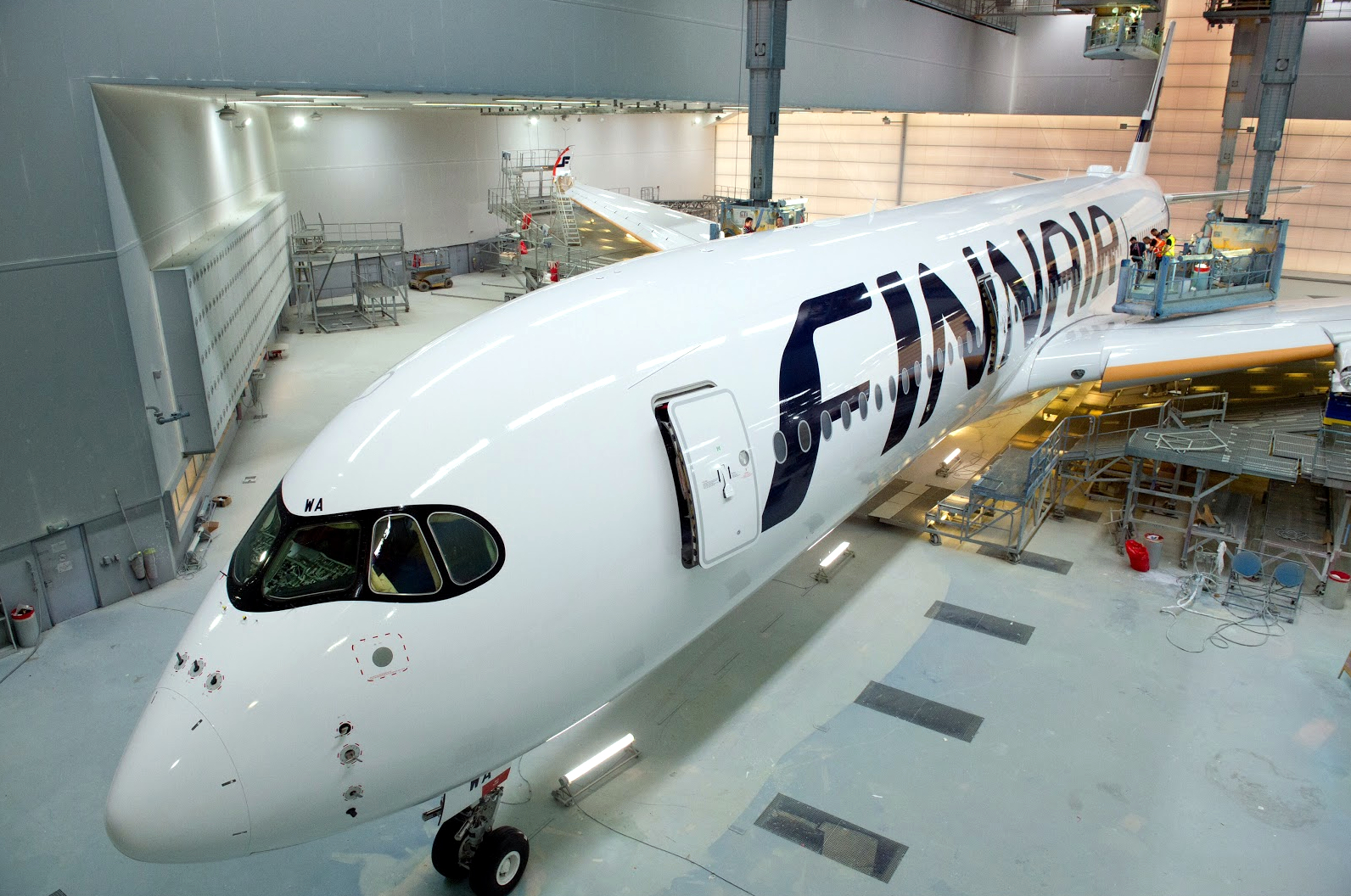 Finnair Airbus A350-900 In Paint Shop
