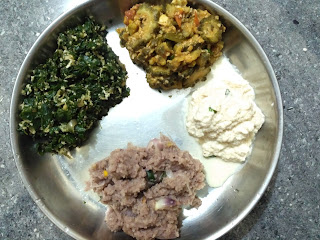 Beaten red rice uppuma, Coconut chutney, Bitter gourd curry, Ponnaanganni poriyal