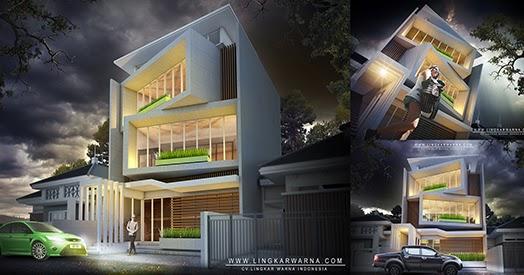 Desain unik kantor di kota makassar bertema modern minimalis dengan finishing dinding semen