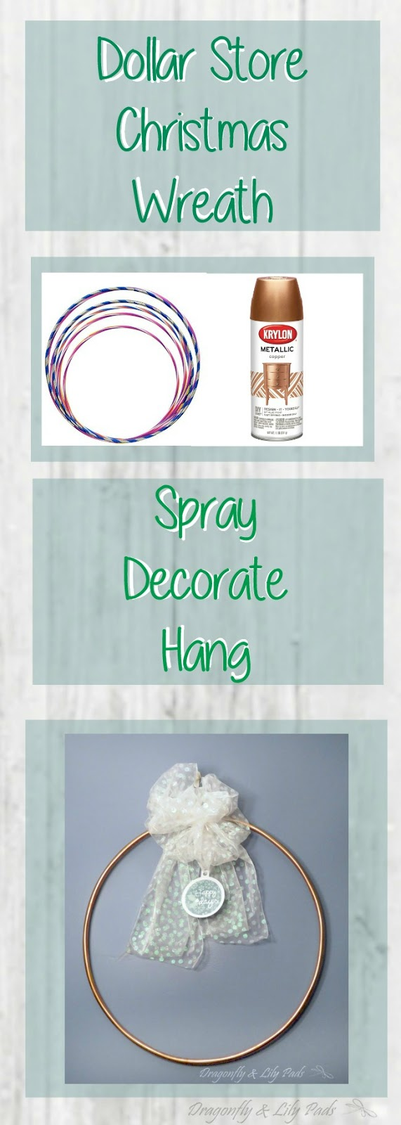 Dollar Store Christmas Wreath Pinterest image with directions.