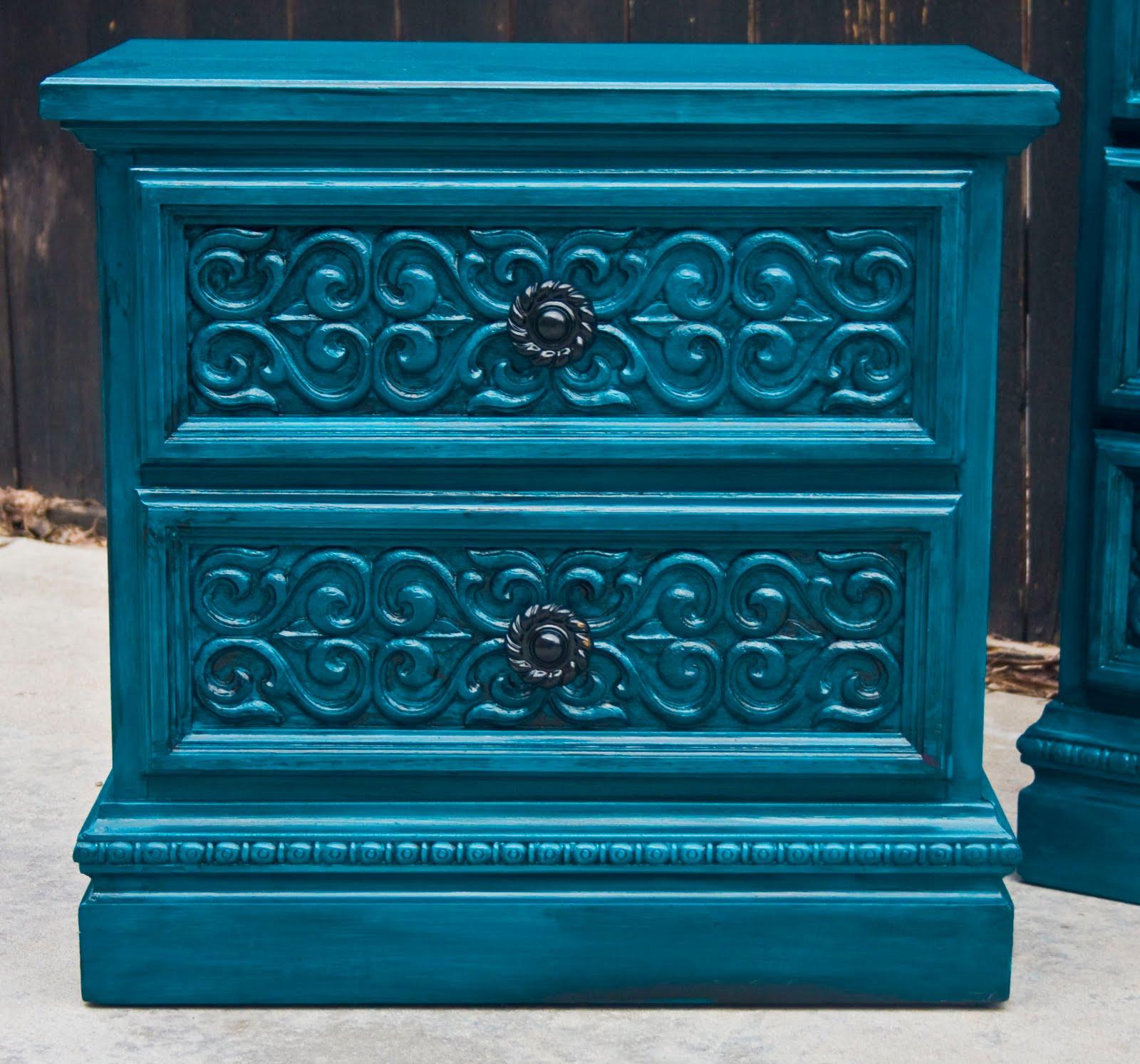 Modernly Shabby Chic Furniture Peacock Blue Dresser