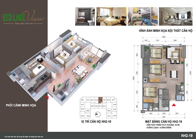 Căn hộ 19, diện tích 85m2 - 3 phòng ngủ