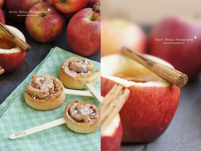 Zimtschnecken am Stiel mit Äpfeln