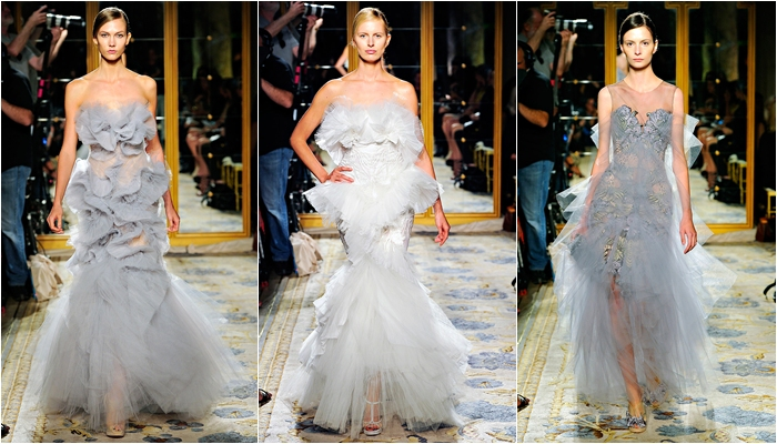Marchesa spring 2012 collection gray chiffon dresses