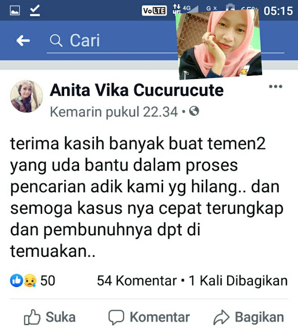 Status facebook yang menyatakan korban tewas adalah adiknya. (Insert foto korban)