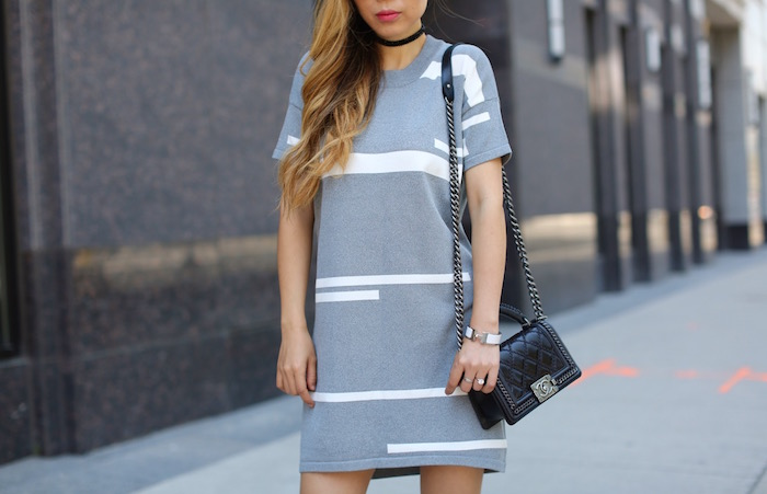 CMEO Lilian Knit Shift Dress, cmeo collective dress, peep toe ankle booties, quay sunglasses, chanel boy bag, toronto street style, travel outfit, choker