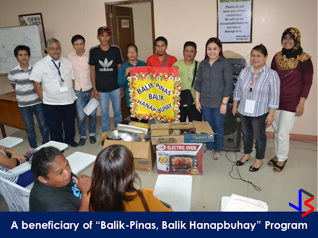 "The Department of Labor and Employment (DOLE)  is giving away capital to overseas Filipino domestic workers and ""distressed"" OFWs who want to do business back home through its ""Balik Pinas! Balik Hanapbuhay!"" (BPBH) program, DOLE and its attached agency National Reintegration Center for OFWs  (NRCO) provides livelihood skills training and starter kits to distressed women-OFWs to help them start their own enterprise.According to DOLE 71 OFWs have already benefited from the livelihood program in Region VII.   ""We coordinated with Cebu City's Department of Manpower Placement and Development or DMDP for the conduct of the livelihood skills training on cookery afforded to the OFWs affected, in partnership with the local government unit of Barangay Cogon Central Ramos,""  NRCO 7 Regional Coordinator Dexter F. Paro said.  In Region IX, The Overseas Workers Welfare Administration Regional Welfare Office  (OWWA RWO-IX) recently awarded livelihood kits to twelve (12) distressed OFW through the ""Balik-Pinas, Balik Hanapbuhay"" Program. The program beneficiaries received utensils and equipments for putting up a carinderia, a burger stand, or a bakery, whichever business they want to start for their livelihood.       What is ""Balik Pinas, Balik Hanap Buhay""  Program?      ""Balik Pinas! Balik Hanapbuhay!"" Program is one-time-availment of non-cash, livelihood assistance intended to provide immediate help to returning OFWs who were displaced from their jobs overseas caused by  political conflicts/wars in their host countries, OFWs who suffered maltreatment, or victimized by human trafficking or similar distressful circumstances.   The livelihood assistance amounting to P10,000 which includes of techno-skills and/or entrepreneurship trainings, starter kits and other services that will enable beneficiaries to quickly start an income generating business. The program aims to enable the beneficiaries to gain and develop skills through access to training services and programs from the agencies like TESDA, DTI, and NGOs.   It also equips the beneficiaries with skills that are highly in demand in the local labor market and enables them to plan, set-up, start and maintain a livelihood by providing them with ready-to-go rollout self-employment package of services, consisting of short courses, start-up kits, business counseling and technical and marketing assistance.     However, OWWA members with finished employment contracts shall not be entitled to this Program. The Program can be availed only once by eligible beneficiaries and within one year after return to the country.       RECOMMENDED: ON JAKATIA PAWA'S EXECUTION: ""WE DID EVERYTHING.."" -DFA  BELLO ASSURES DECISION ON MORATORIUM MAY COME OUT ANYTIME SOON  SEN. JOEL VILLANUEVA  SUPPORTS DEPLOYMENT BAN ON HSWS IN KUWAIT  AT LEAST 71 OFWS ON DEATH ROW ABROAD  DEPLOYMENT MORATORIUM, NOW! -OFW GROUPS  BE CAREFUL HOW YOU TREAT YOUR HSWS  PRESIDENT DUTERTE WILL VISIT UAE AND KSA, HERE'S WHY  MANPOWER AGENCIES AND RECRUITMENT COMPANIES TO BE HIT DIRECTLY BY HSW DEPLOYMENT MORATORIUM IN KUWAIT  UAE TO START IMPLEMENTING 5%VAT STARTING 2018  REMEMBER THIS 7 THINGS IF YOU ARE APPLYING FOR HOUSEKEEPING JOB IN JAPAN  KENYA , THE LEAST TOXIC COUNTRY IN THE WORLD; SAUDI ARABIA, MOST TOXIC  ""JUNIOR CITIZEN ""  BILL TO BENEFIT POOR FAMILIES"