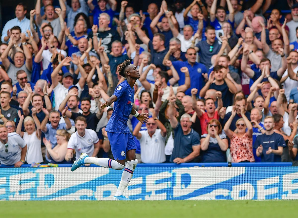 Tammy Abraham of Chelsea celebrating his goal