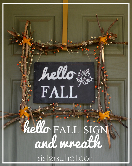 hello fall sign and wreath made for only $3!!