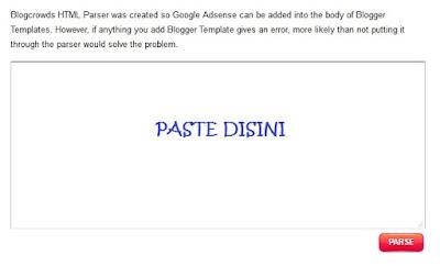 Pastekan kode iklan yang telah disalin tadi di kolom parse.
