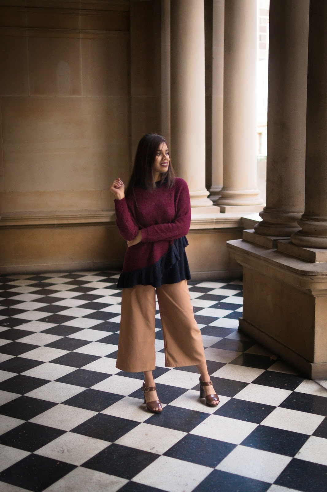 ASOS Burgundy Ruffle Sweater with boohoo Camel Culottes