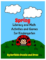 Spring literacy and math activities and games for kindergarten