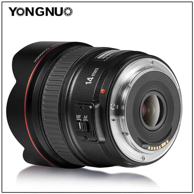 Yongnuo YN 14mm f/2.8,вид сбоку