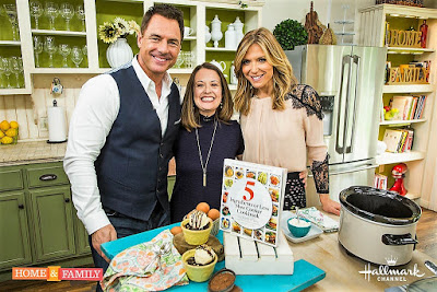 Stephanie O'Dea with Mark Steines and Debbie Matenopoulos making flourless brownies on Home & Family