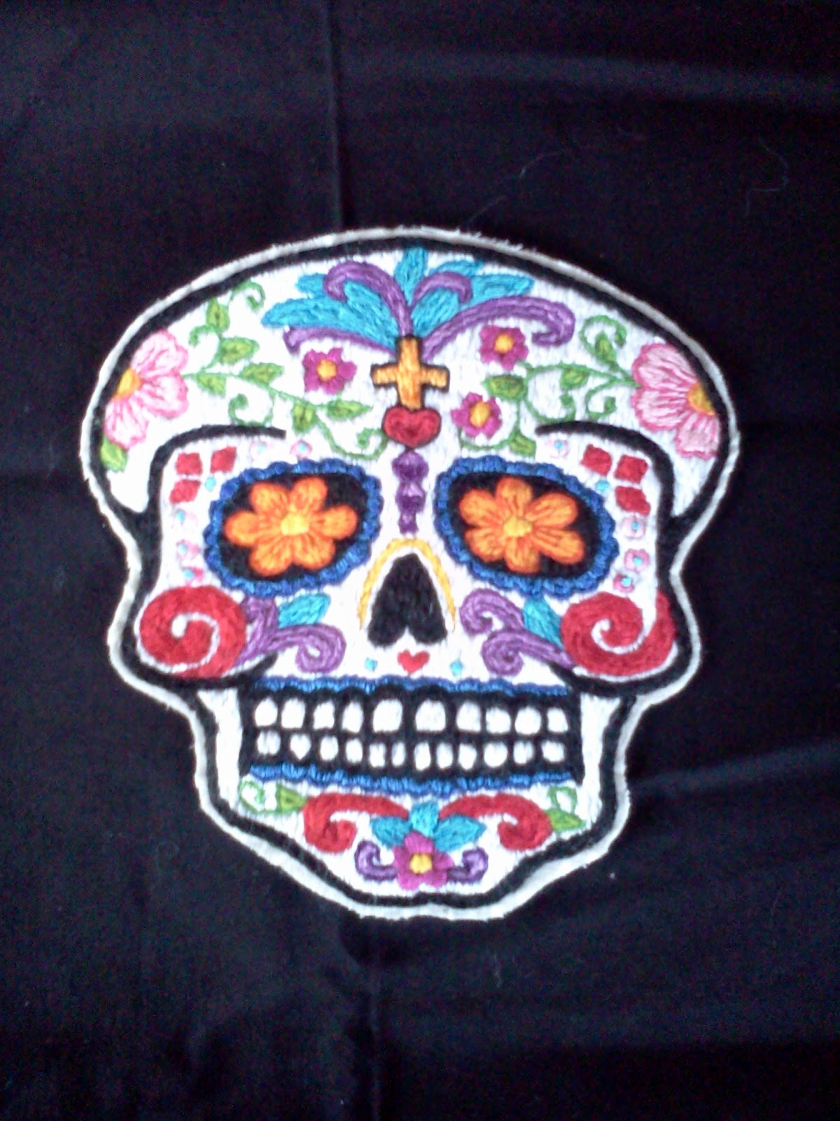 Humboldt Cherry: Hand Embroidered Sugar Skull Patches