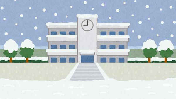 雪が降る学校の建物のイラスト(背景素材)