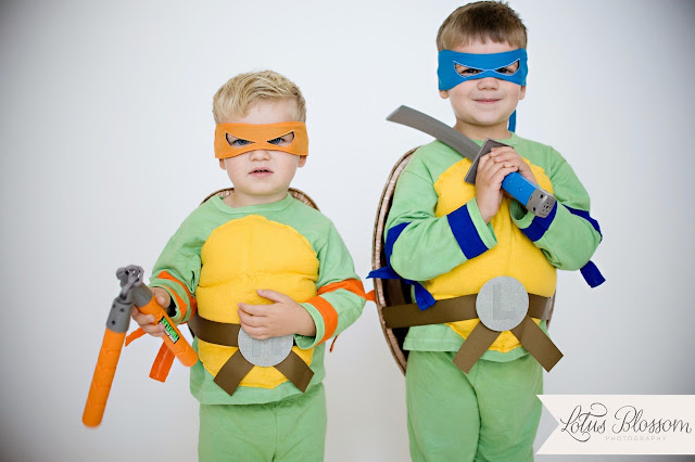 add arm and leg bands to ninja turtle costumes