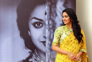 Keerthy Suresh in Yellow Saree with Cute and Awesome Lovely Smile for Mahanati Promotions 3
