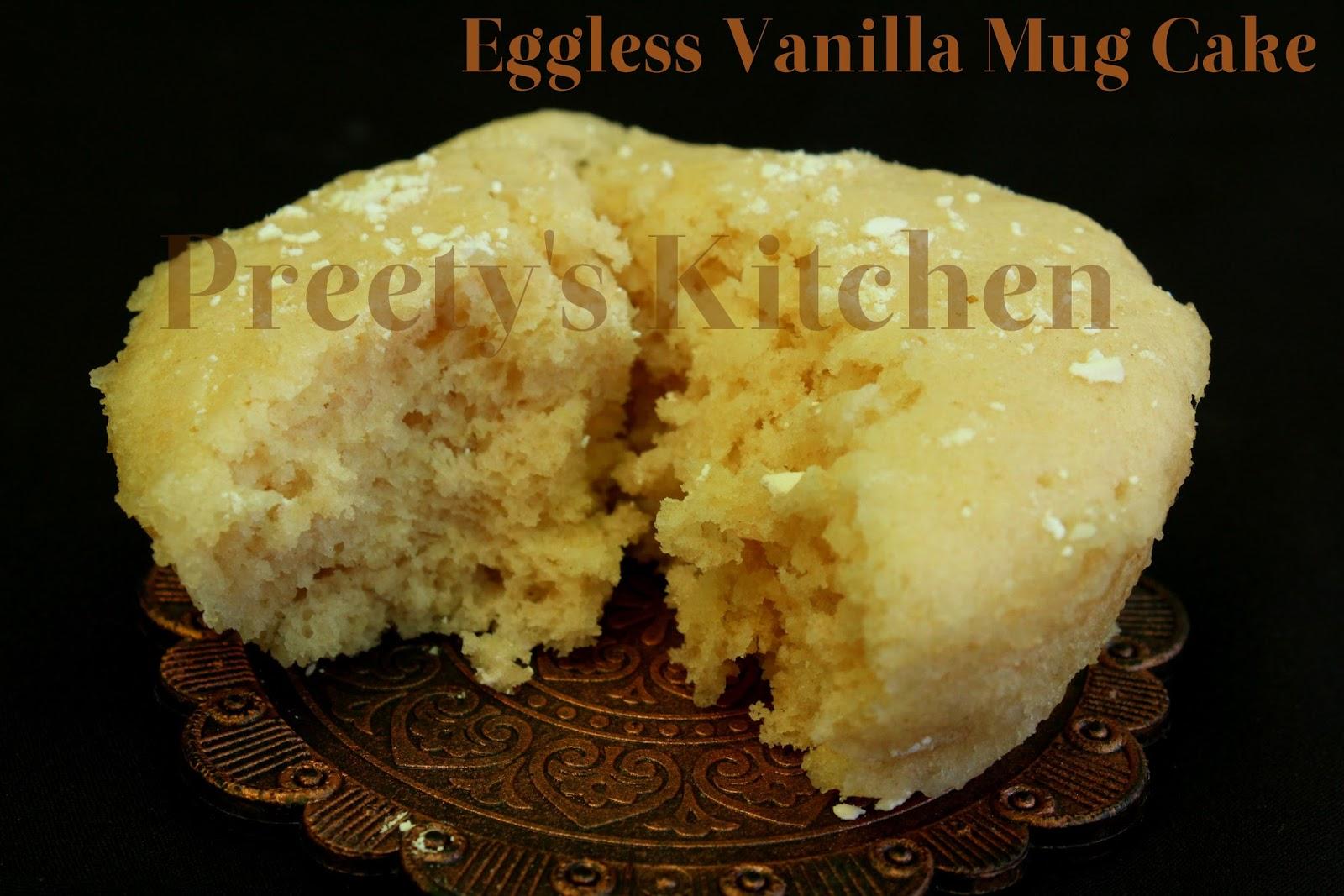 Microwave Vanilla Cake Recipes In A Mug: Preety's Kitchen: Eggless Vanilla Mug Cake / Single