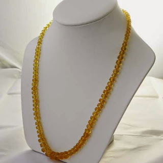 Citrine yellow glass bead necklace vintage