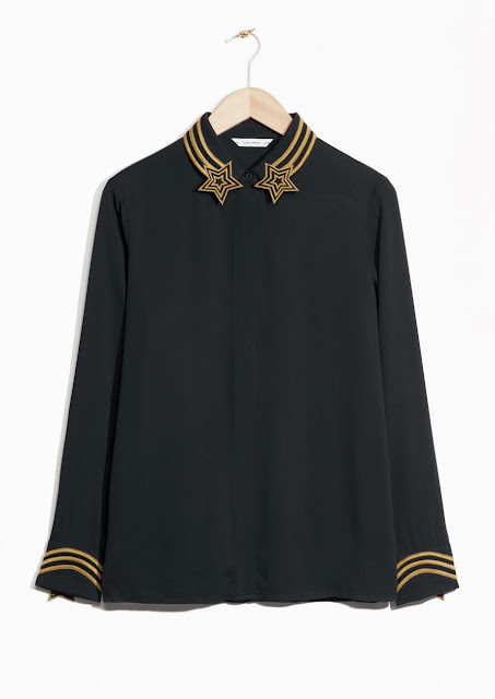black star collar shirt,