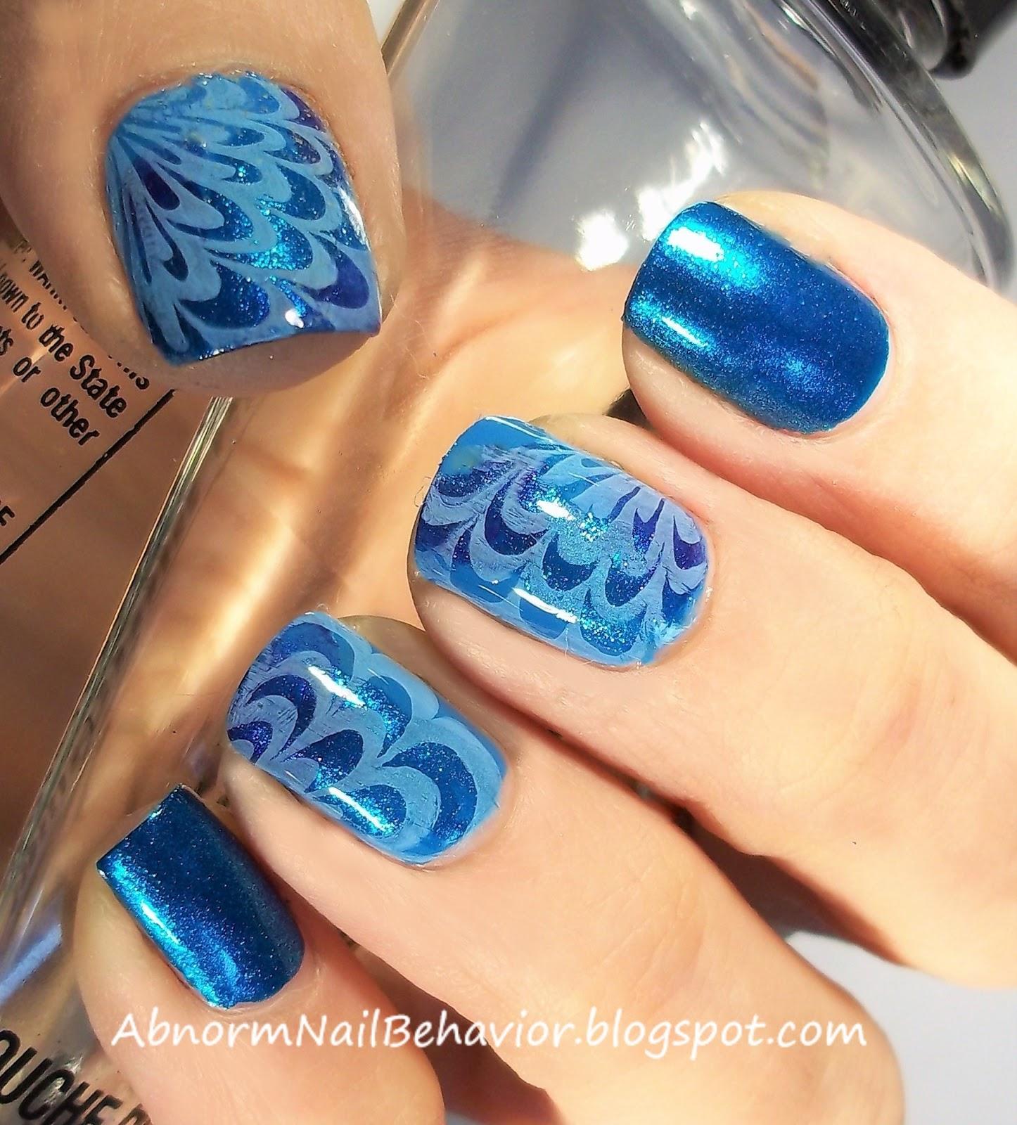 Abnorm Nail Behavior | Nail Art : Metallic Blue Marble Nails