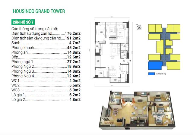 Thiết kế căn hộ 07 chung cư Housinco Grand Tower