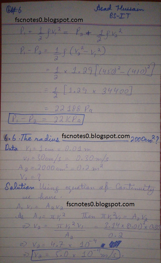 F.Sc ICS Notes: Physics XI: Chapter 6 Fluid Dynamics Numerical Problems Asad Hussain 3
