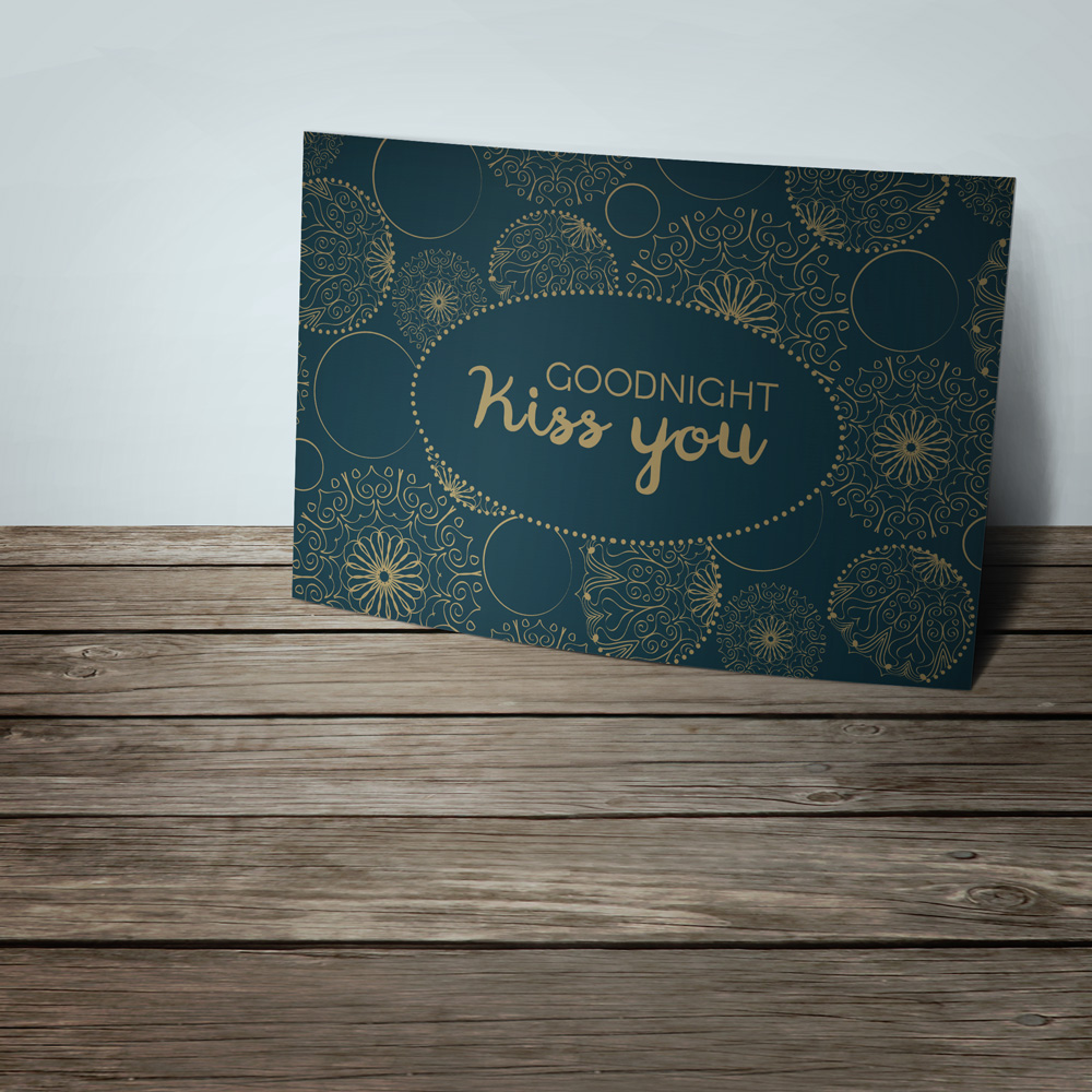 Goodnight postcard with great delicate print