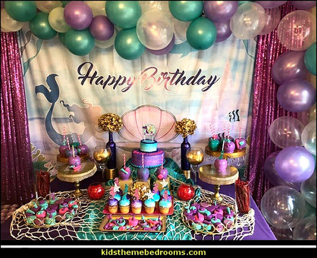 Mermaid Birthday Party Backdrop Girl Dessert Table Decorations Under The Sea Photography Background