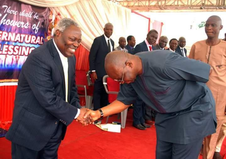 See photo of Fayose prostrating for Deeper Life pastor Kumuyi