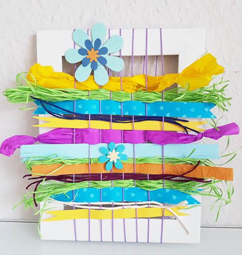 Annette Diepolder, Frühling, Haustüre, Frühlingsdeko, Haustürschmuck, Webrahmen, Papierbild, der Atelierladen, DIY, Handmade